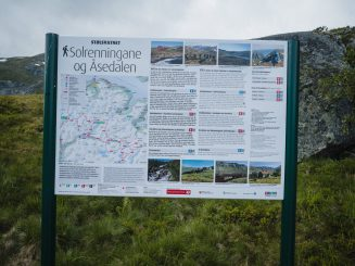 map and information sign for hikers