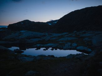 mountain silhouette at dusk