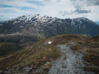 mountain bike trail down a mountain ridge