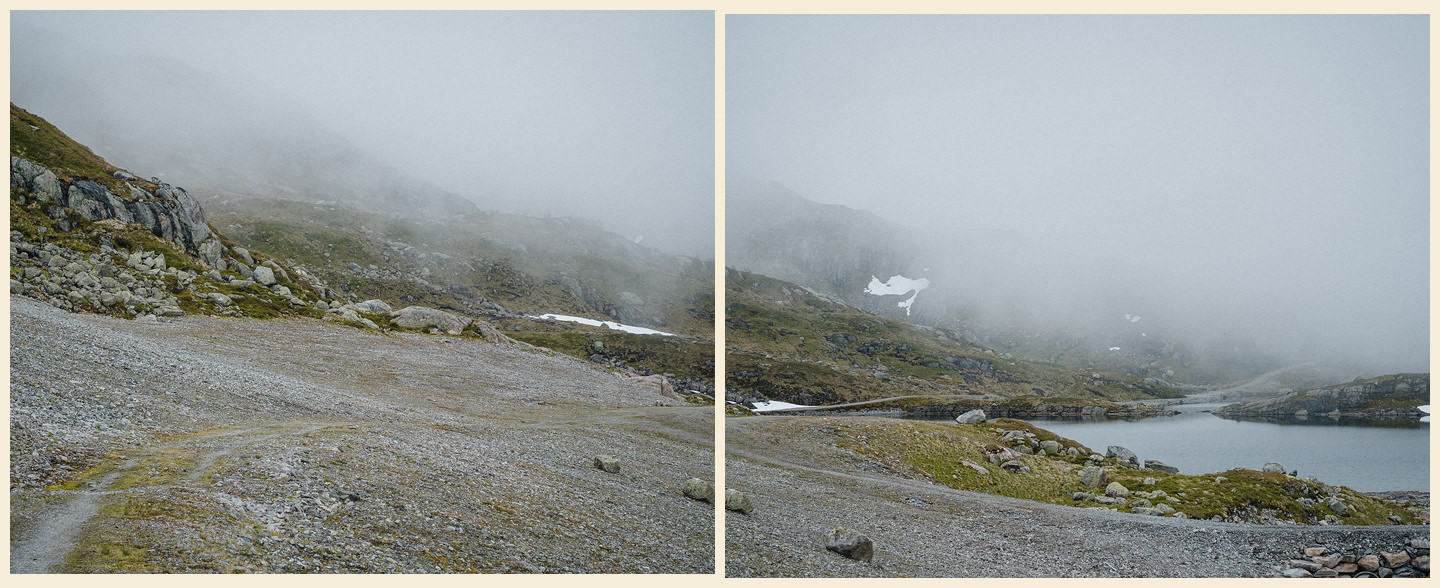 diptych of a foggy mountain landscape