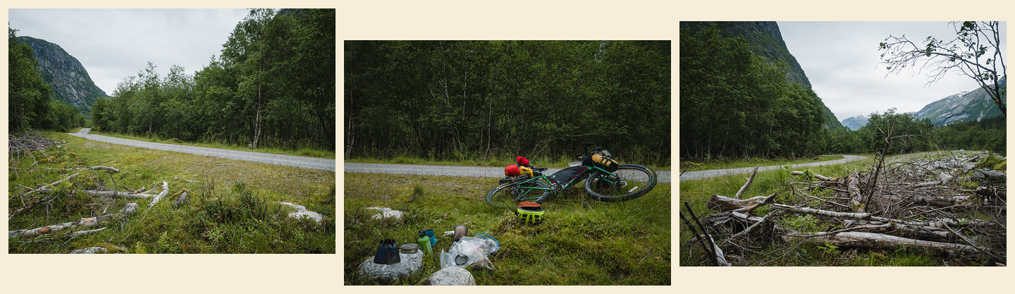 triptych showing a green valley, gravel road, bicycle and camping stove