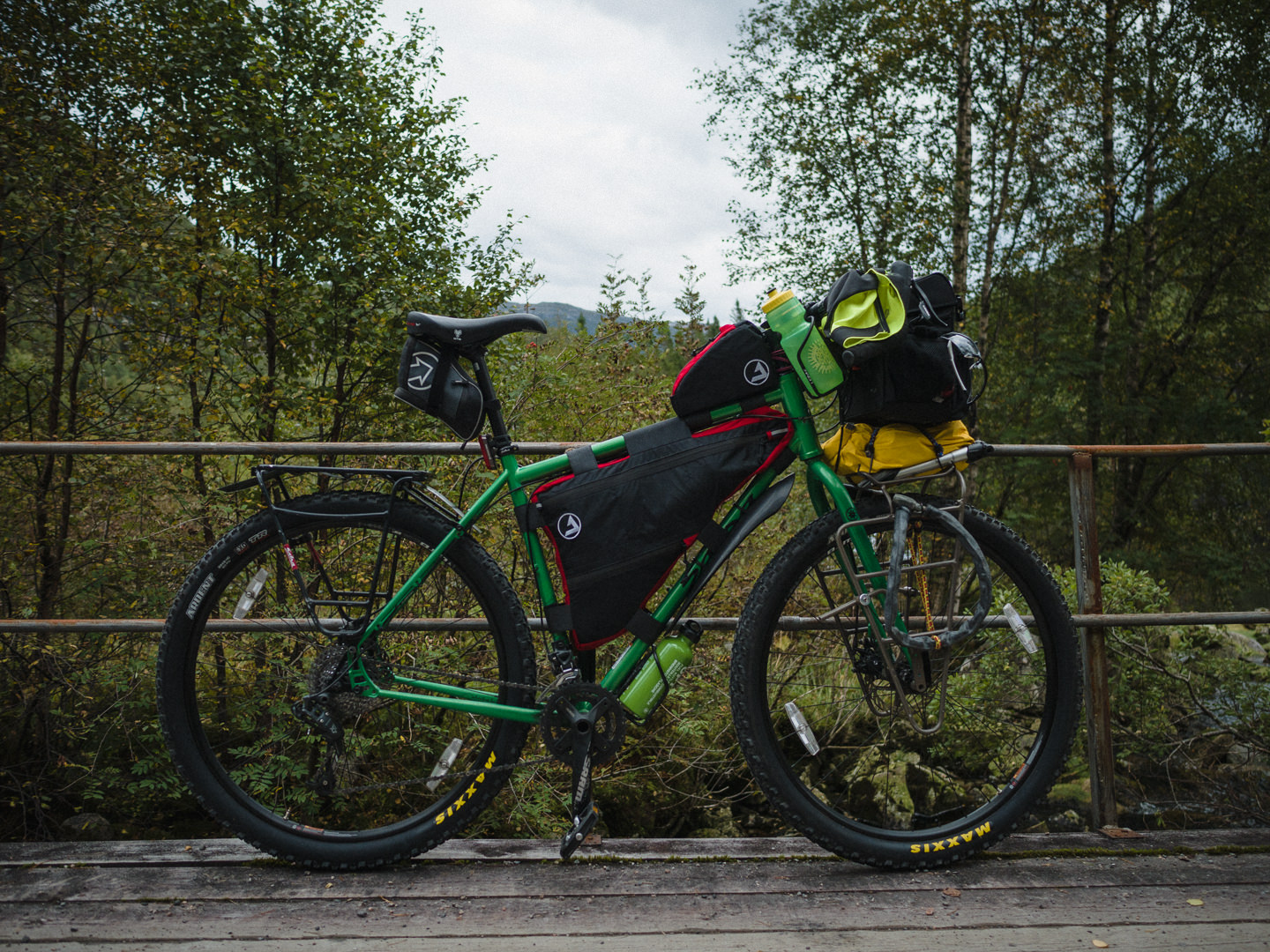 touring bicycle with racks, a few bags but no panniers