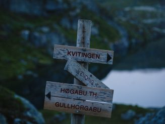 close-up of a signpost in mountain area