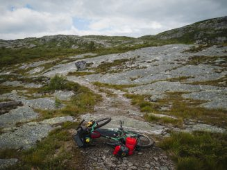 touring bicycle on a singletrack