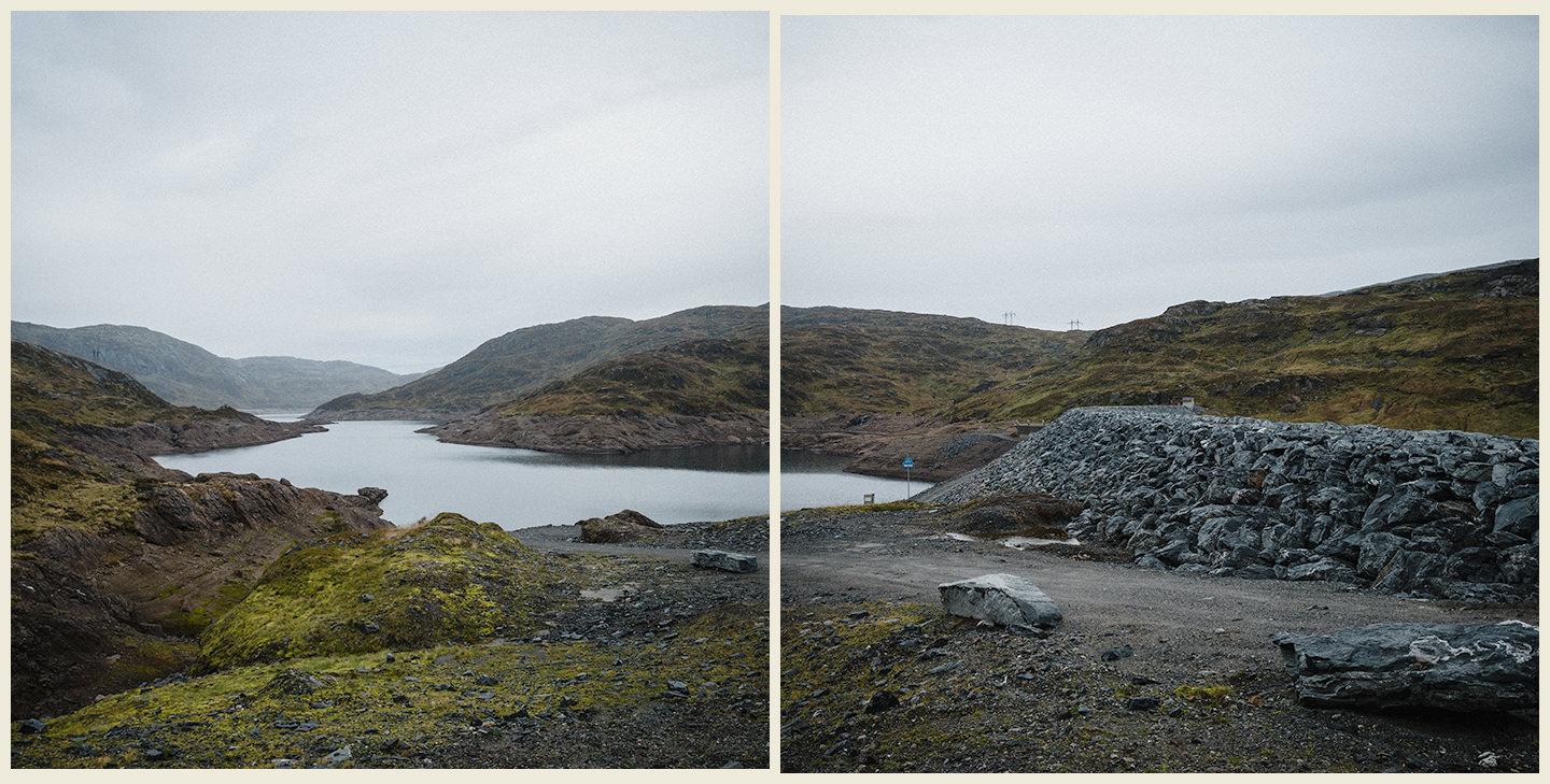 Reservoir, half full, grey clouds, nordic highlands